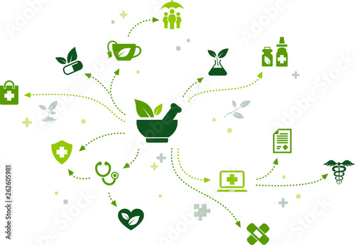 herbal remedy / organic pharmaceuticals / natural alternative medicine icon conc Wallpaper Mural