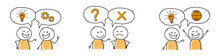 Cartoon People With Speech Bubbles With Business Icons - Set. Vector