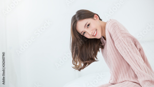 Portrait of young beautiful innocence asian woman relax in her bedroom Canvas-taulu