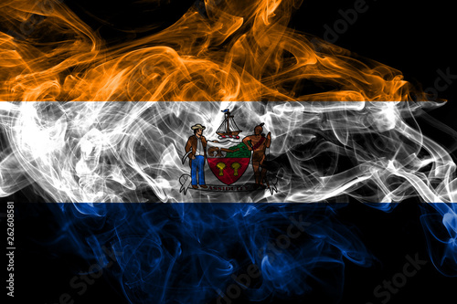 Fotografia, Obraz  Albany city smoke flag, New Yor State, United States Of America