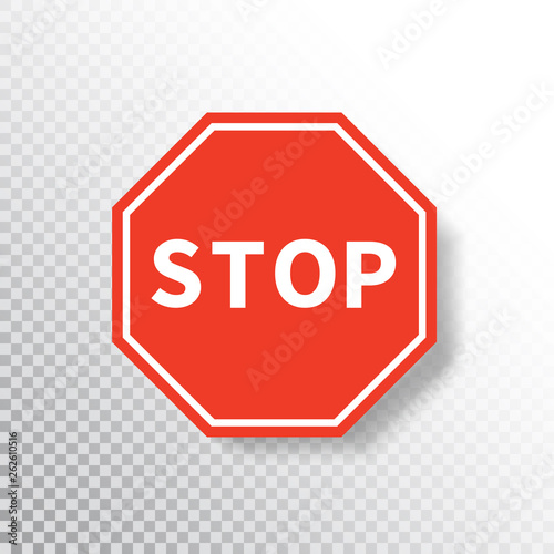 Fotografía  Stop sign isolated on transparent background