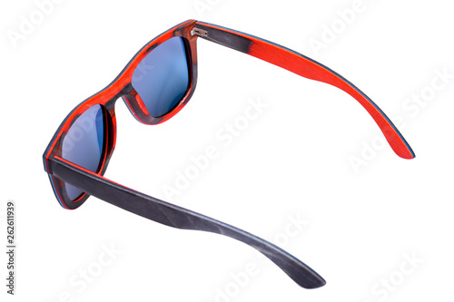 70s Square Style Blue Material Sunglasses Glasses Red And From Wood QWdBexorC