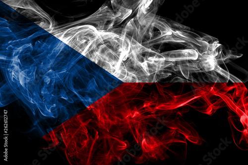 Photo  Czech Republic smoke flag isolated on black background
