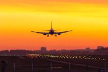 Sunset Plane Landing Lights Papi
