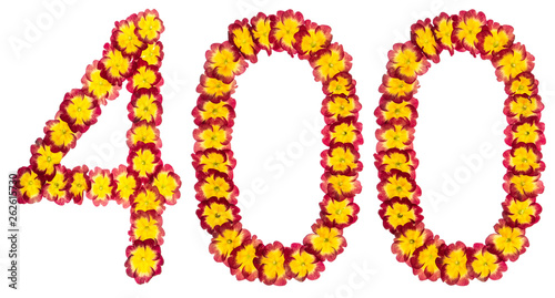 Fotografia  Numeral 400, four hundred, from natural flowers of primula, isolated on white ba