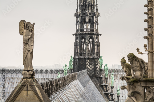Fotomural Notre dame's rooftop and spire at Paris, France