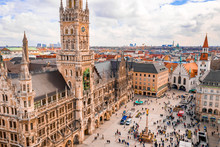 Beautiful Munich Architectural Aerial View. Germany, Bavaria. Marienplatz Town Hall.