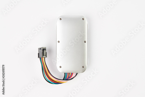 Photo GPS tracker isolated on white. Anti-theft car security system
