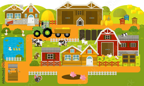 cartoon scene with farm village and farm animals - illustration for children