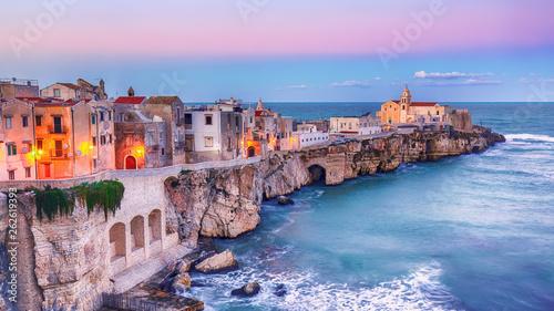 Recess Fitting Mediterranean Europe Vieste - beautiful coastal town on the rocks in Puglia