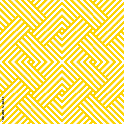 Fototapeten Künstlich Vector yellow geometric pattern. Seamless braided pattern.