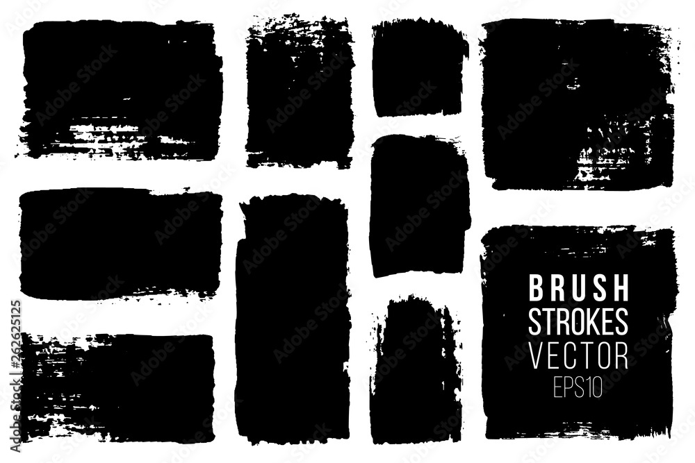 Fototapety, obrazy: Grunge brush painted spots. Vector ink brush strokes. Distressed banners, paintbrush collection. Modern teextured rectangular shapes set.