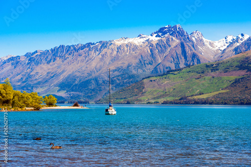 Photo Stands Caribbean View of the landscape in Southern Alps, New Zealand. Copy space for text.