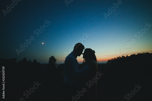 Silhouettes of a young couple on a sunset background, the moon in the sky. The bride and groom stand against the setting sun. The guy and the girl against the sky at sunset. The concept of love.