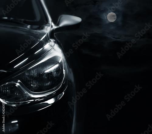 Obraz car on a moonlit night. Detail close-up. - fototapety do salonu