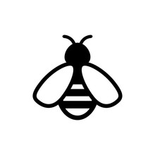 Bee Icon. Symbol Silhouette Of...