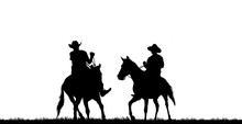 Silhouette Cowboy Riding Horse On White Background