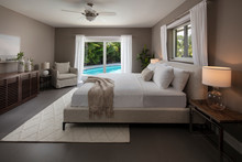 Florida Home Bed Room Overlooking Pool.