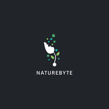 Digital Technology Logo Style, Nature Byte Plant Logo Icon Symbol With Abstract Byte Illustration