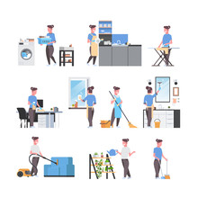 Set Housewife Doing Housework Different Housecleaning Concepts Collection Female Cartoon Characters Full Length Flat White Background