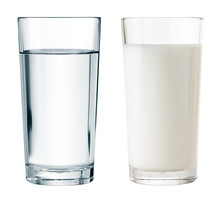 Water And Milk Glasses Isolate...