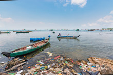 The Environmental Pollution. The Ecological Problem. The Shore Near The Fishing Village. Vietnam, Phu Quoc