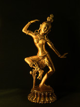 Indian Statue Bronze With Tara Goddess On Black Background