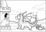 Fototapeta Dinusie - black and white coloring page dragon and castle with cartoon style
