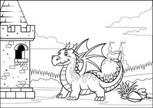 Black And White Coloring Page Dragon And Castle With Cartoon Style