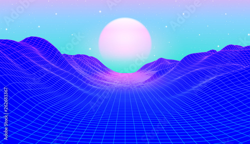 Fototapeta 80s synthwave styled landscape with blue grid mountains and sun over canyon obraz na płótnie