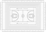 Fototapeta Sport - Basketball court Architect Blueprint
