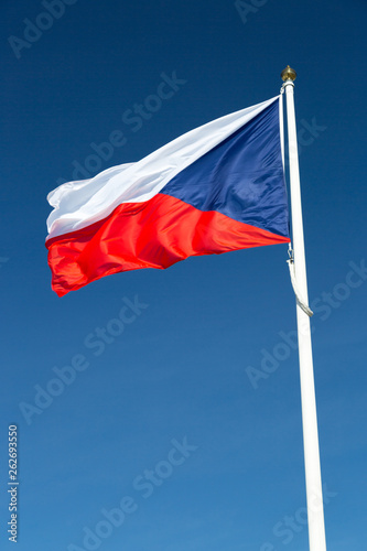 Photo  Flag of the Czech Republic close up.