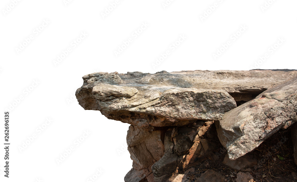 Fototapety, obrazy: Cliff stone located part of the mountain rock isolated on white background.