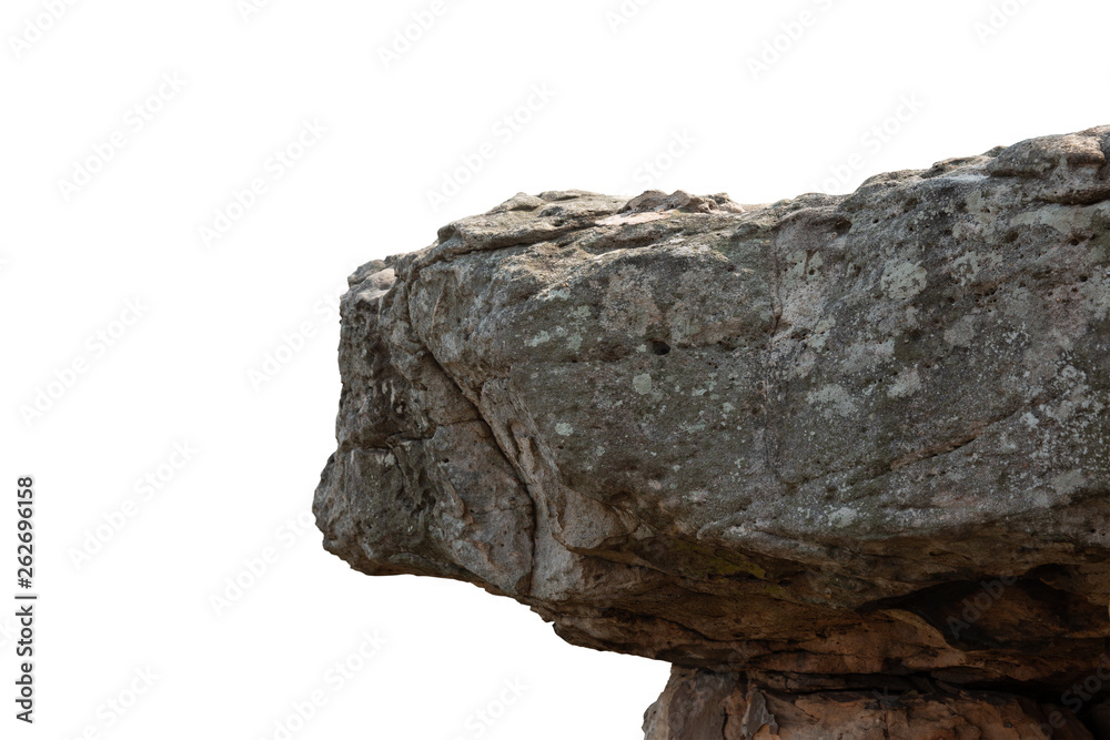 Fototapeta Cliff stone located part of the mountain rock isolated on white background.