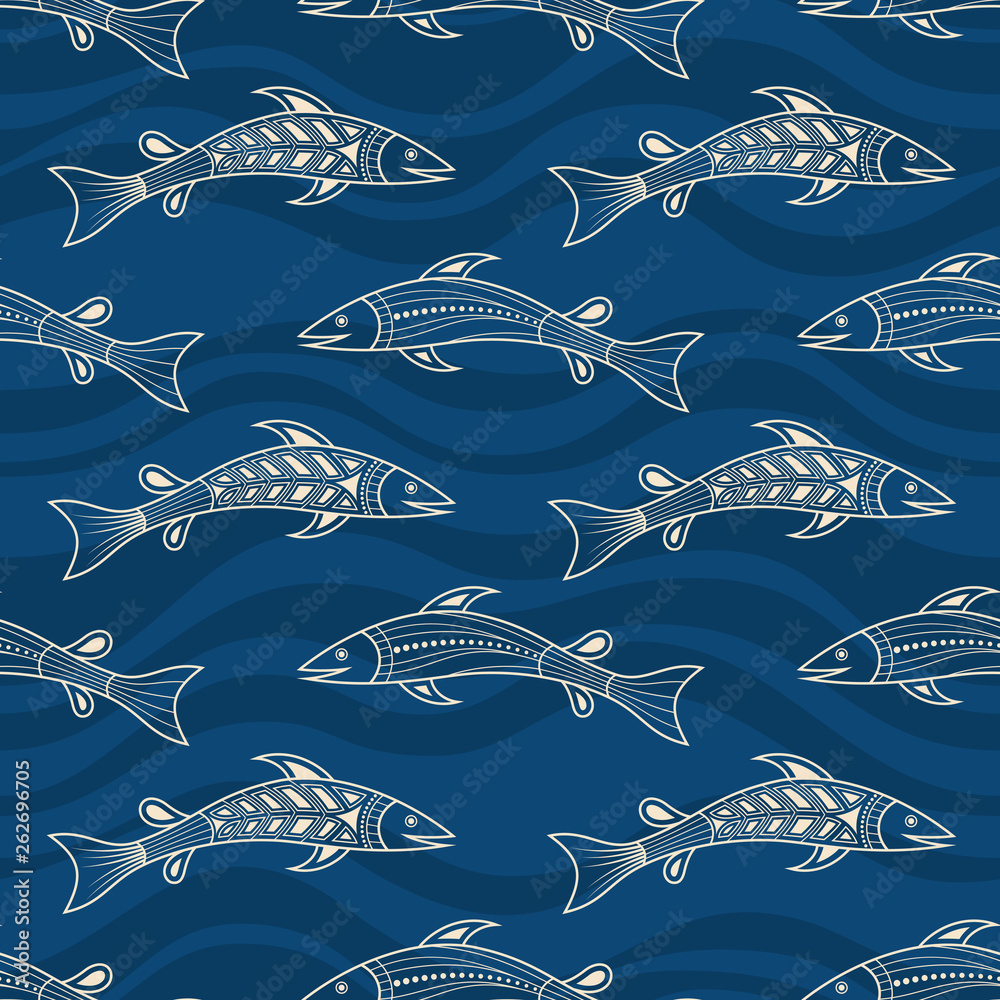 Seamless pattern of fishes silhouettes. Australian art.