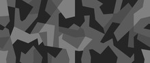 Geometric Camouflage Seamless Pattern. Abstract Modern Camo, Black And White Modern Military Texture Background. Vector Illustration.