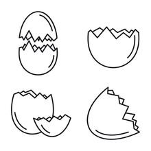 Broken Eggshell Icons Set. Outline Set Of Broken Eggshell Vector Icons For Web Design Isolated On White Background