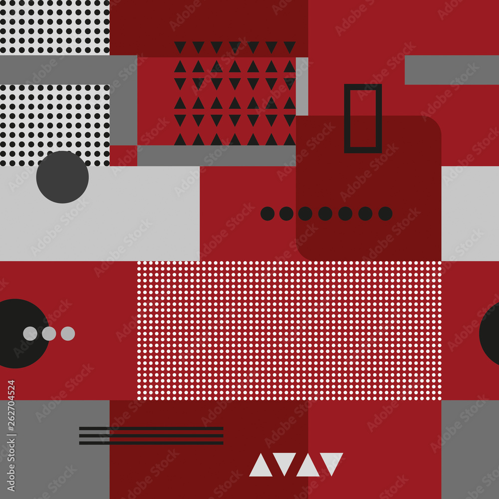 Geometric composition in the style of constructivism. Abstract stylish seamless pattern with geometric shapes. Circles, squares, stripes, lines. Cloth design. Wallpaper, wrapping