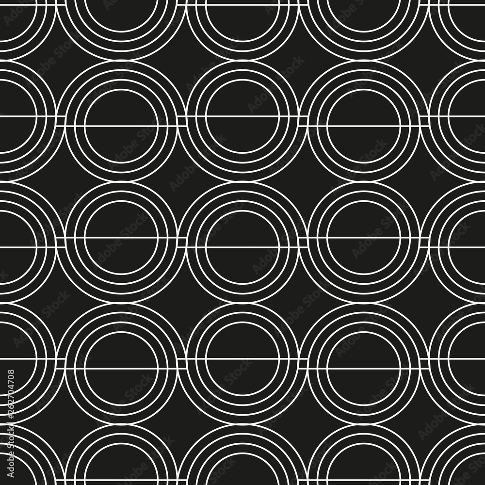 Geometric composition in the style of constructivism. Abstract stylish seamless pattern with geometric shapes. Circles, stripes, lines. Cloth design. Wallpaper, wrapping
