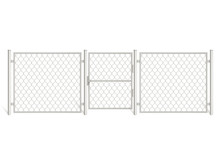 Wire Fence Isolated On White Background. Silver Colored Three Segments Perimeter Protection Barrier With Gate Separated With Metal Steel Poles. Chain Link Mesh, Rabitz Realistic 3d Vector Illustration