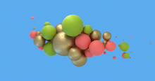 Abstract Background With Living Coral, Golden And Green Spheres On Blue. Fashion Sale Banner Design. 3D Render Illustration