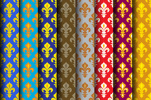 Royal Heraldic Lilies (Fleur De Lis) -- Rich Colorful Wallpaper, Fabric Textile, Seamless Pattern, Set Of 8 Versicolored Rolls.