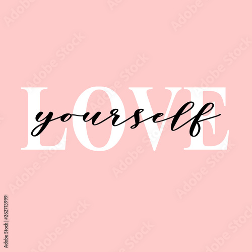 Fotomural  Love yourself quote typography with pink background
