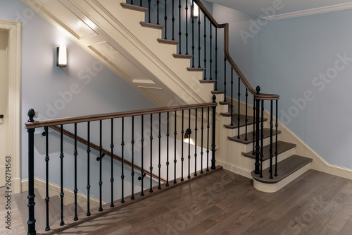 Cuadros en Lienzo Staircase with cast iron balusters and wooden steps