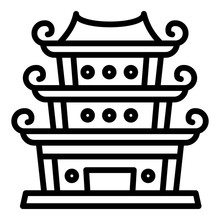 Chinese Temple Icon. Outline Chinese Temple Vector Icon For Web Design Isolated On White Background