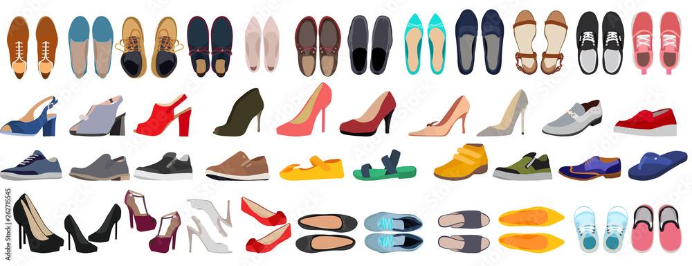 Fototapeta vector, isolated, set of men's and women's shoes