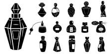 Fragrance Bottles Icons Set. Simple Set Of Fragrance Bottles Vector Icons For Web Design On White Background