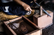 Swordsmith Making Japanese Swords