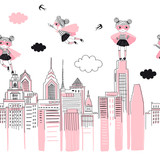 Supergirls cartoon characters in the city fly above and stand on buildings. Girlish Superhero themed seamless border pattern. Vector doodle graphics. Perfect for little girl design like t-shirt - 262724744