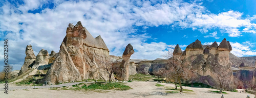 Fotografie, Obraz  Panoramic view of the Love valley with huge phallus shape stones in Goreme village, Turkey